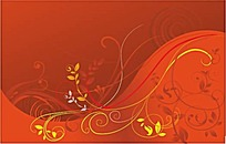 红底卷曲的藤蔓花纹装饰矢量素材