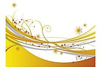 黄色调动感曲线与点点图案花