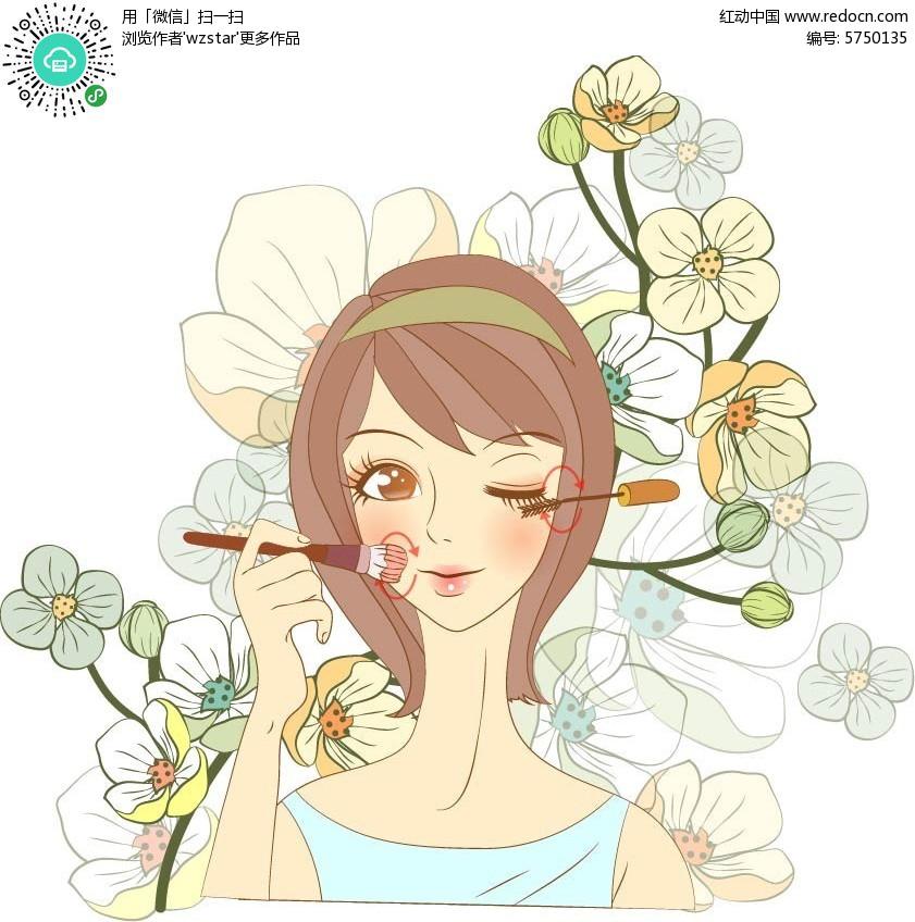 化妆教程手绘插画设计