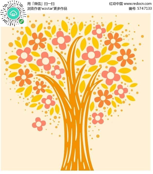 开满鲜花树叶的树木背景素材