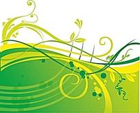绿色黄色枝条和圆形插画