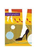 女人的脚和高跟鞋彩绘背景素材