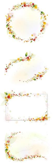 漂亮花朵图案绕成的边框素材