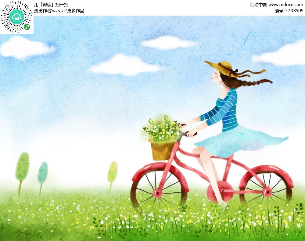 骑着单车的女孩手绘海报设计