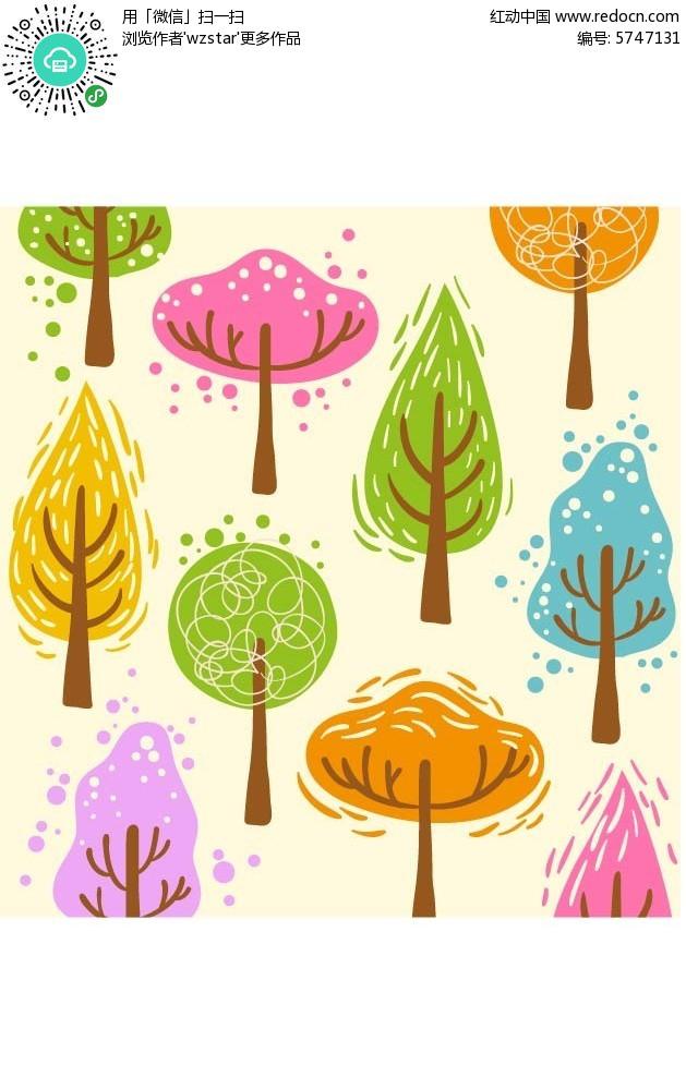 手绘彩色树林背景素材