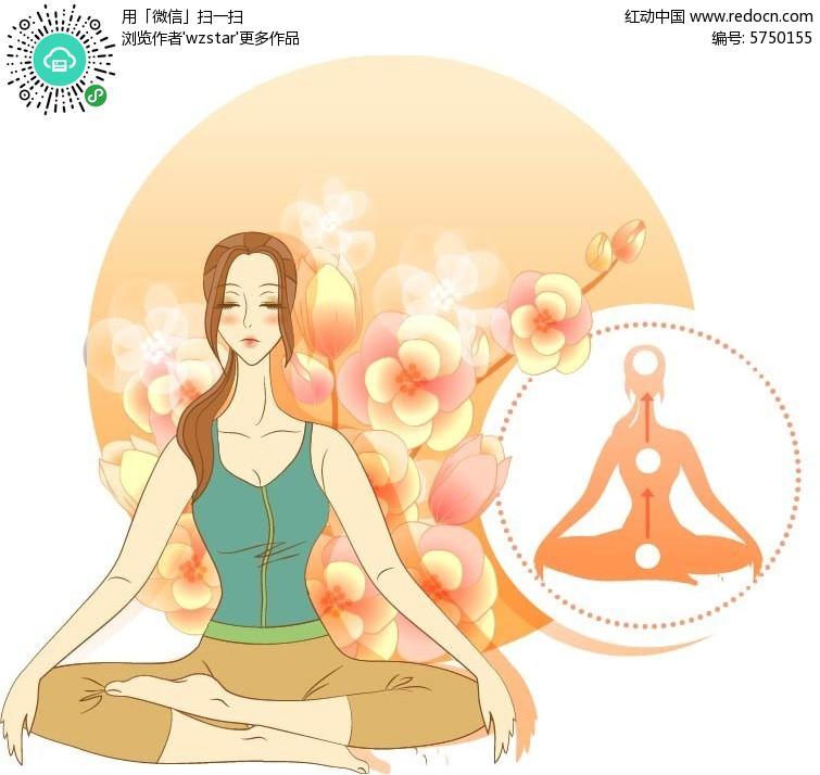 瑜伽手绘插画设计图片
