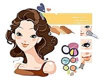 优雅女人的精致容颜美妆彩绘素材