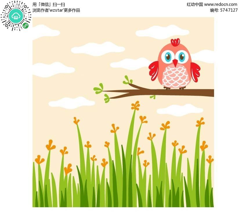 站在树上的可爱小鸟卡通插画