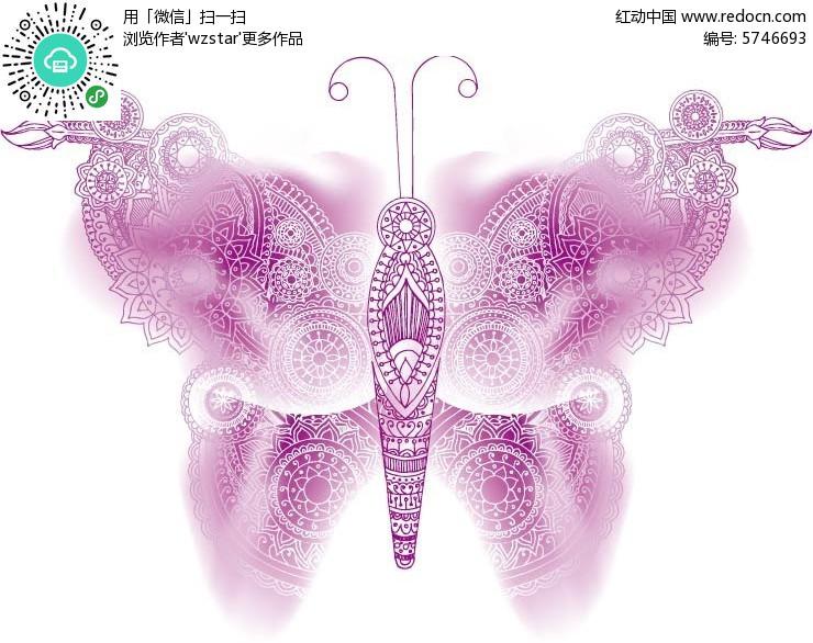 紫色手绘花蝴蝶背景素材