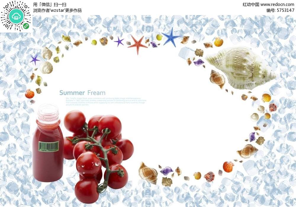 番茄酱海螺贝壳psd相框素材图片