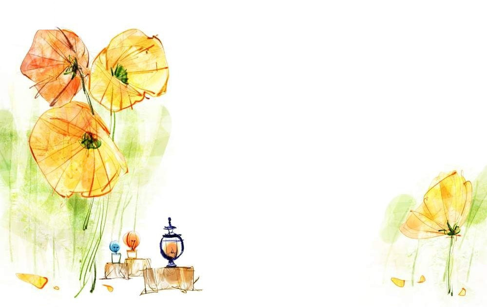 手绘灯笼和花卉psd素材