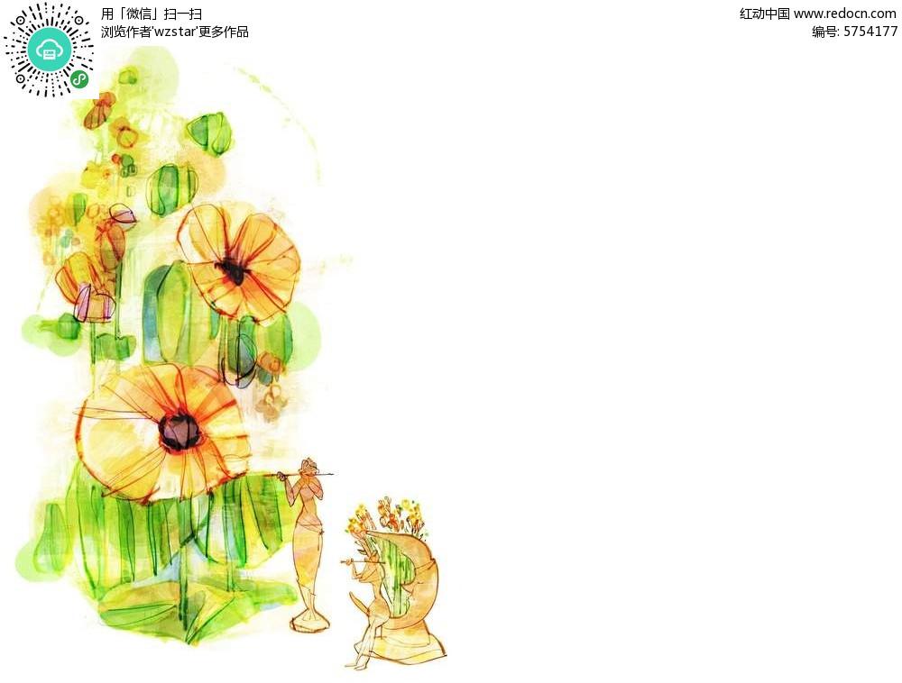 手绘植物和吹笛子的人插画psd海报素材