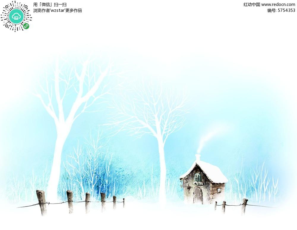 树林里雪中的小木屋psd分层