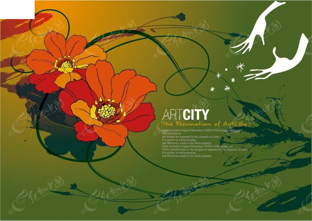 彩绘花朵手图案背景素材