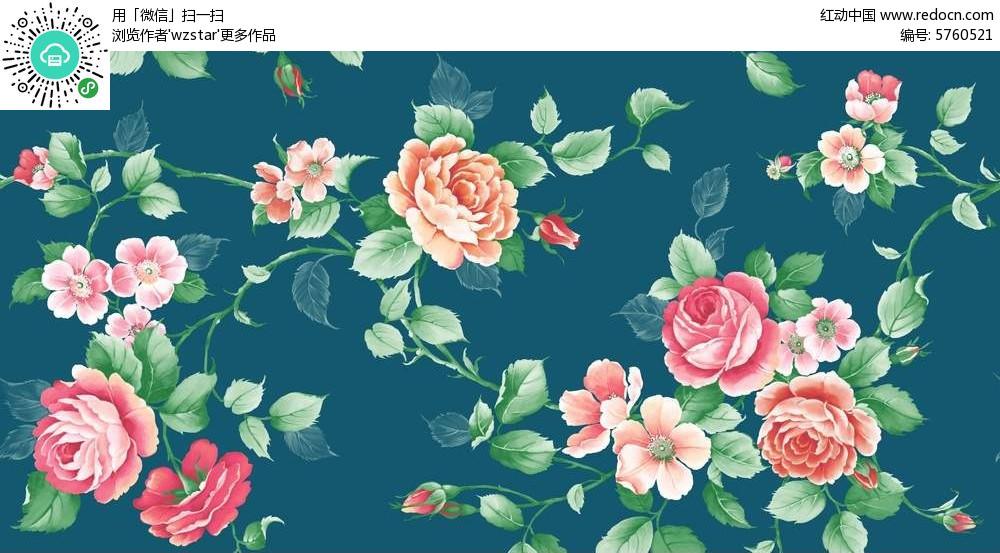 彩绘牡丹花背景素材