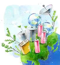 地球上的易拉罐和灯泡水彩画