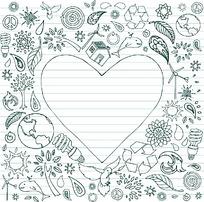各种植物动物和环保标志和爱心组成的矢量素材