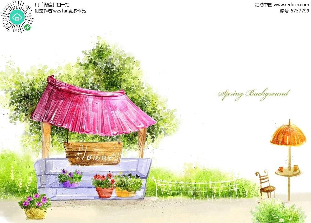 公园场景手绘插画图片