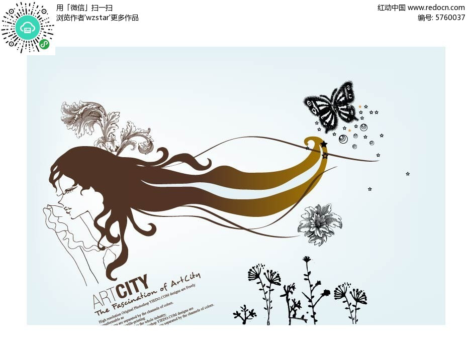 黑色花草蝴蝶和长发美女简笔画矢量素材EPS免费下载 编号5760037
