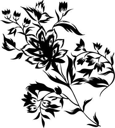 黑色植物剪影手绘插画