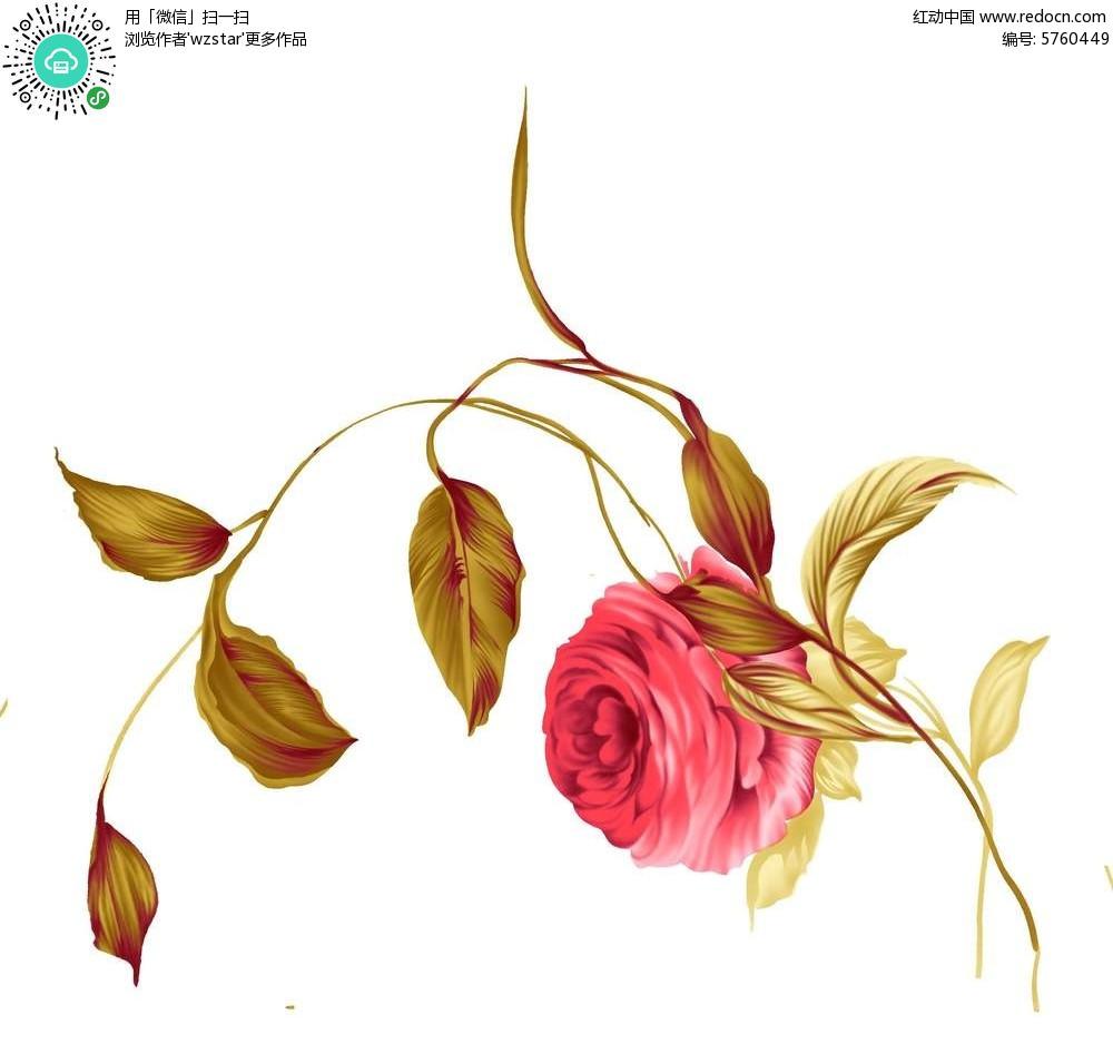 红色花卉插画设计