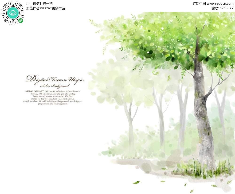 卡通树林插画图片