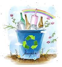 垃圾桶中的空瓶子水彩画