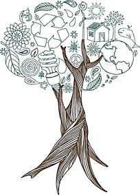 手绘灯泡地球房子组成的树木矢量素材