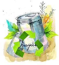 手绘垃圾桶绿色循环使用psd素材