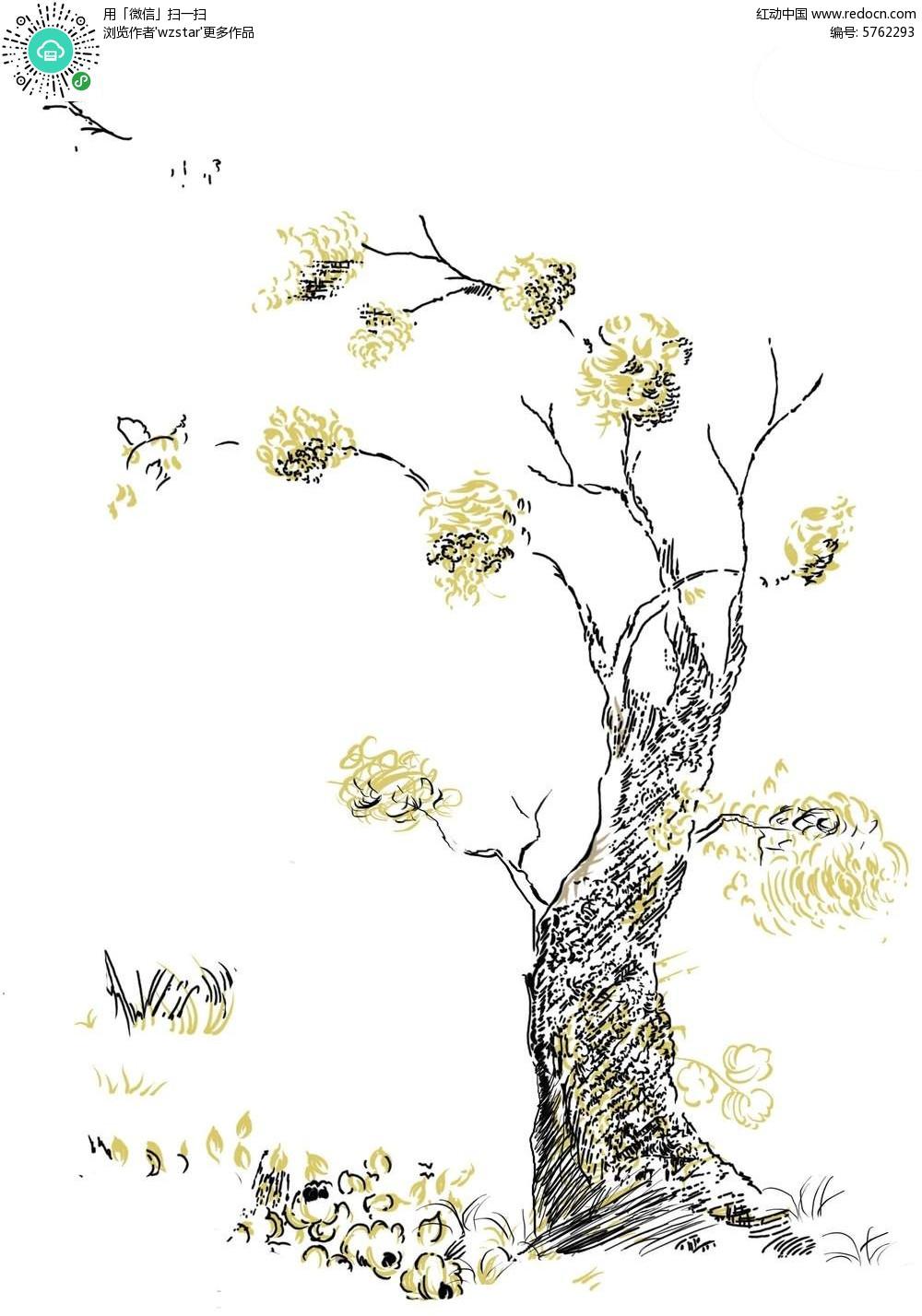 创意抽象的 树木彩绘 背景素材 其他 红动手机