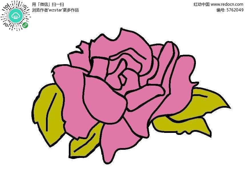 粉色玫瑰花印花图案
