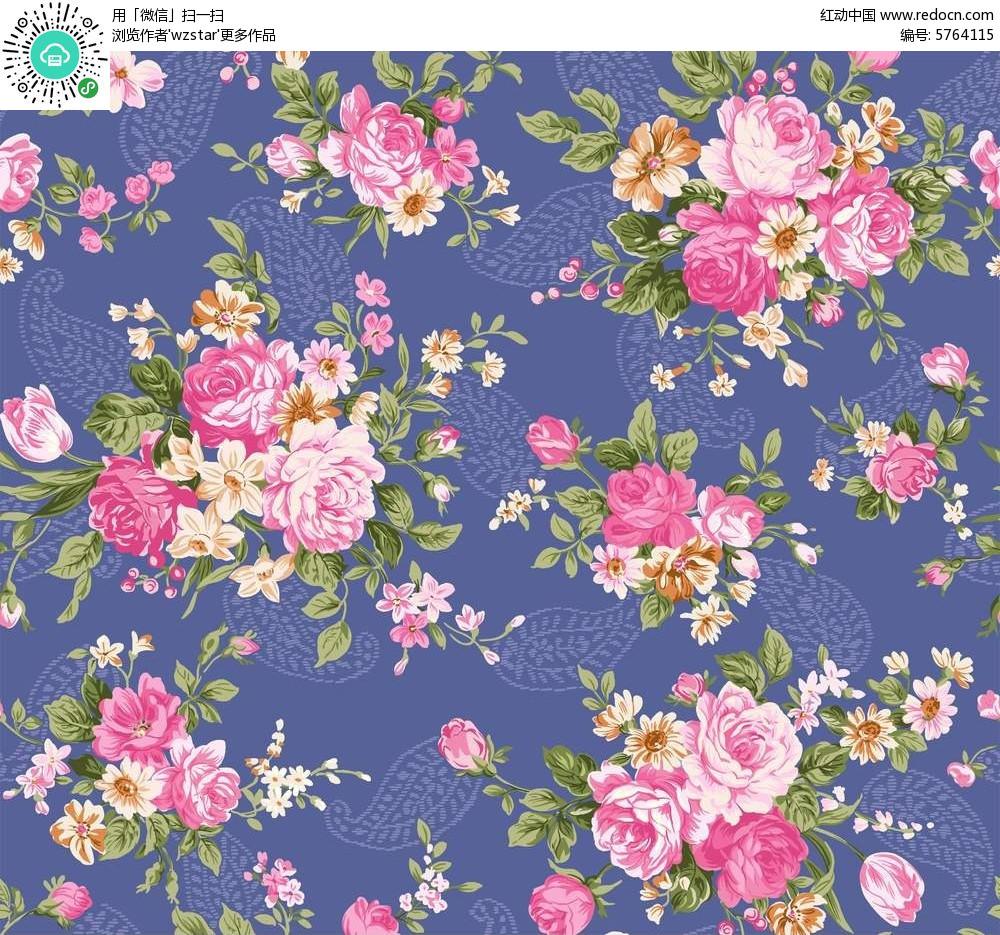 古典精致的彩绘牡丹花背景素材