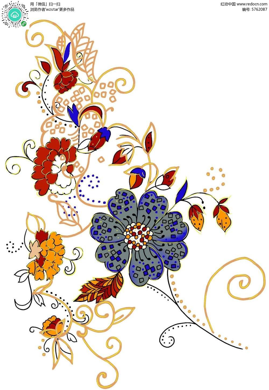 精美彩色花朵手绘素材