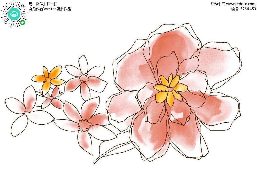 精美手绘彩色花朵背景素材