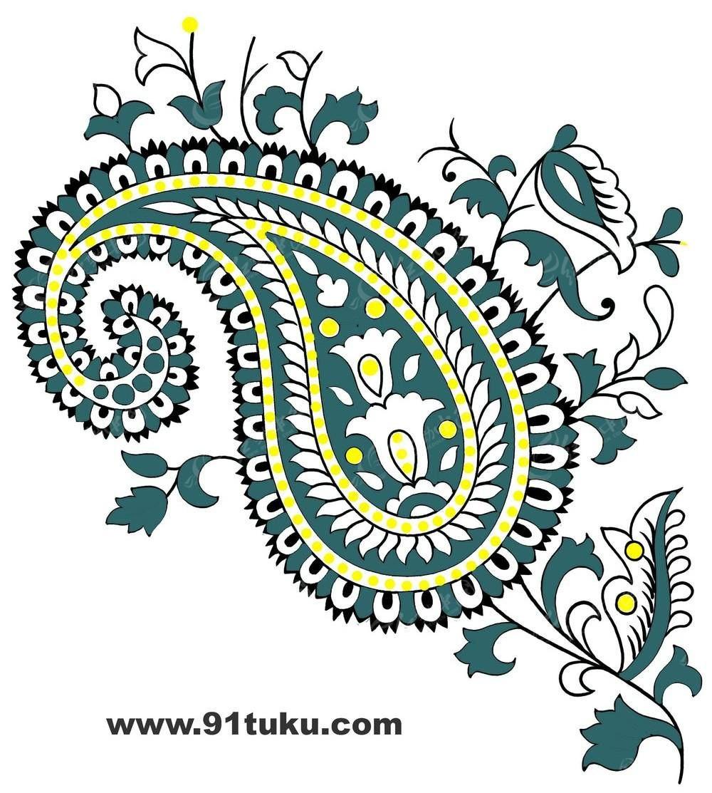 精美手绘彩色花纹背景素材