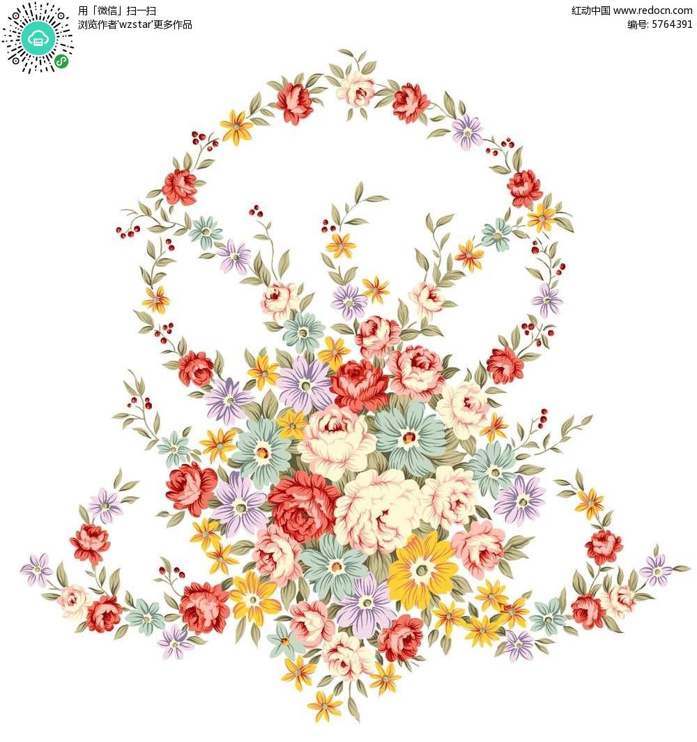 精美手绘花圈图案素材