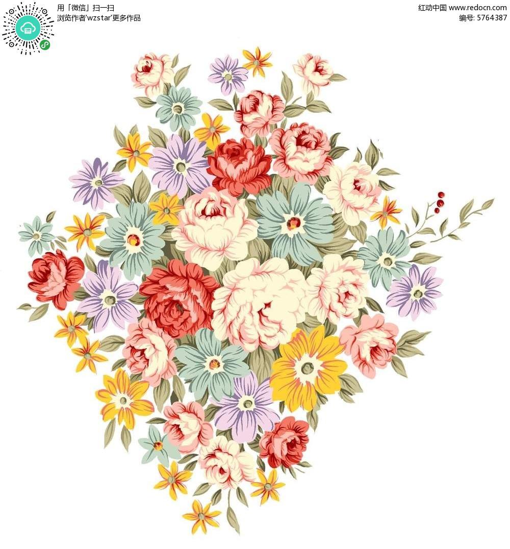 精美手绘鲜花图案素材