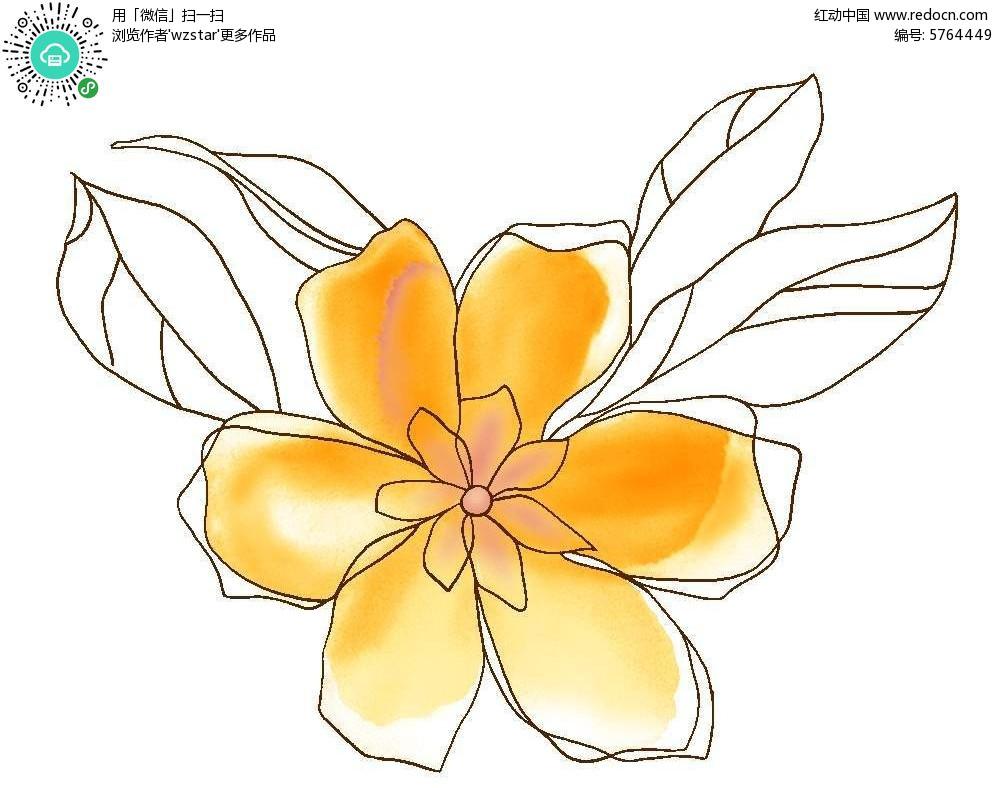 精细手绘彩色花卉背景素材