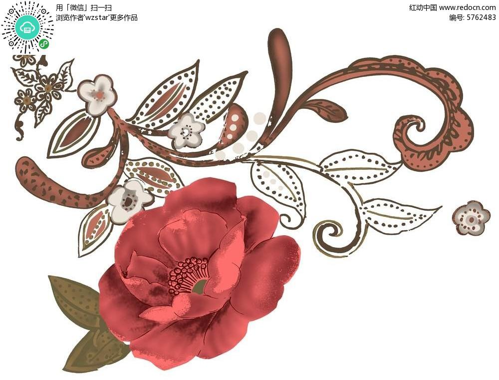精致镂空花朵插画素材图片