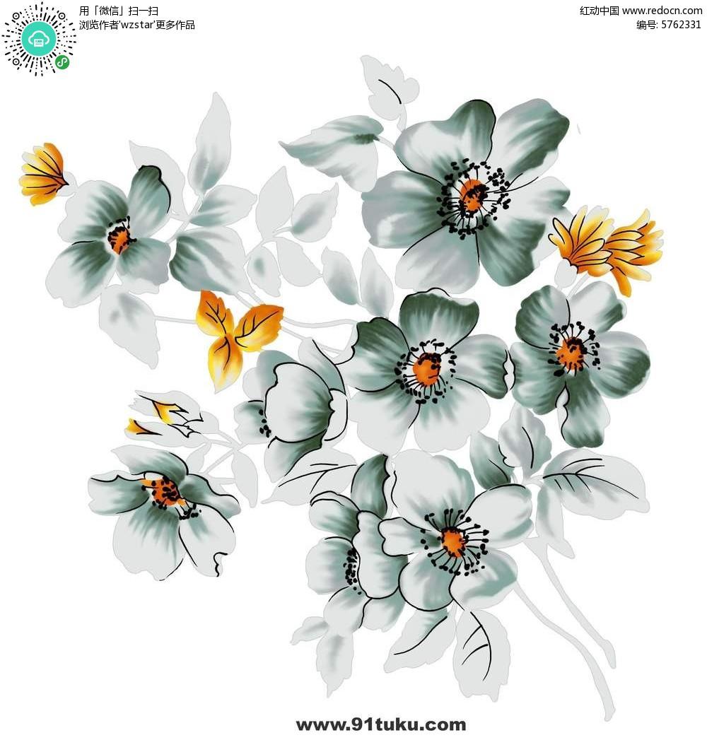 靓丽的花瓣花朵手绘插画稿件展示