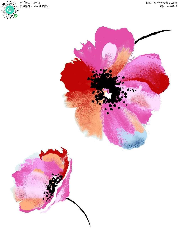 花朵 彩色 花瓣 手绘 水彩插画 背景      时尚 靓丽 psd格式 可编辑