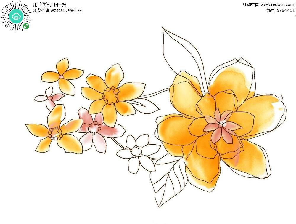 时尚手绘彩色花叶背景素材