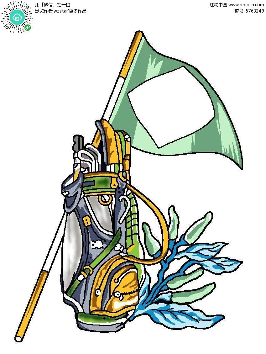 手绘高尔夫球袋和旗帜
