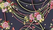 手绘高清大花朵psd印花图案