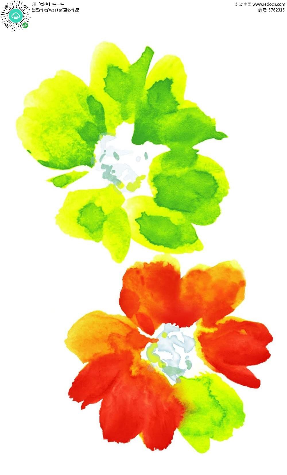 手绘水彩花朵花瓣插画设计文件