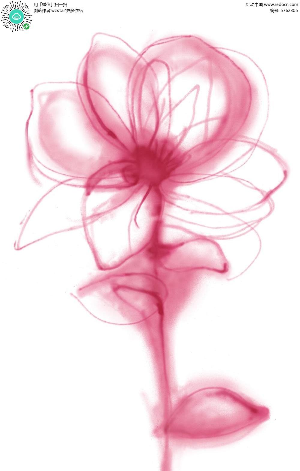 手绘涂鸦粉色抽象花朵psd素材免费下载_红动网
