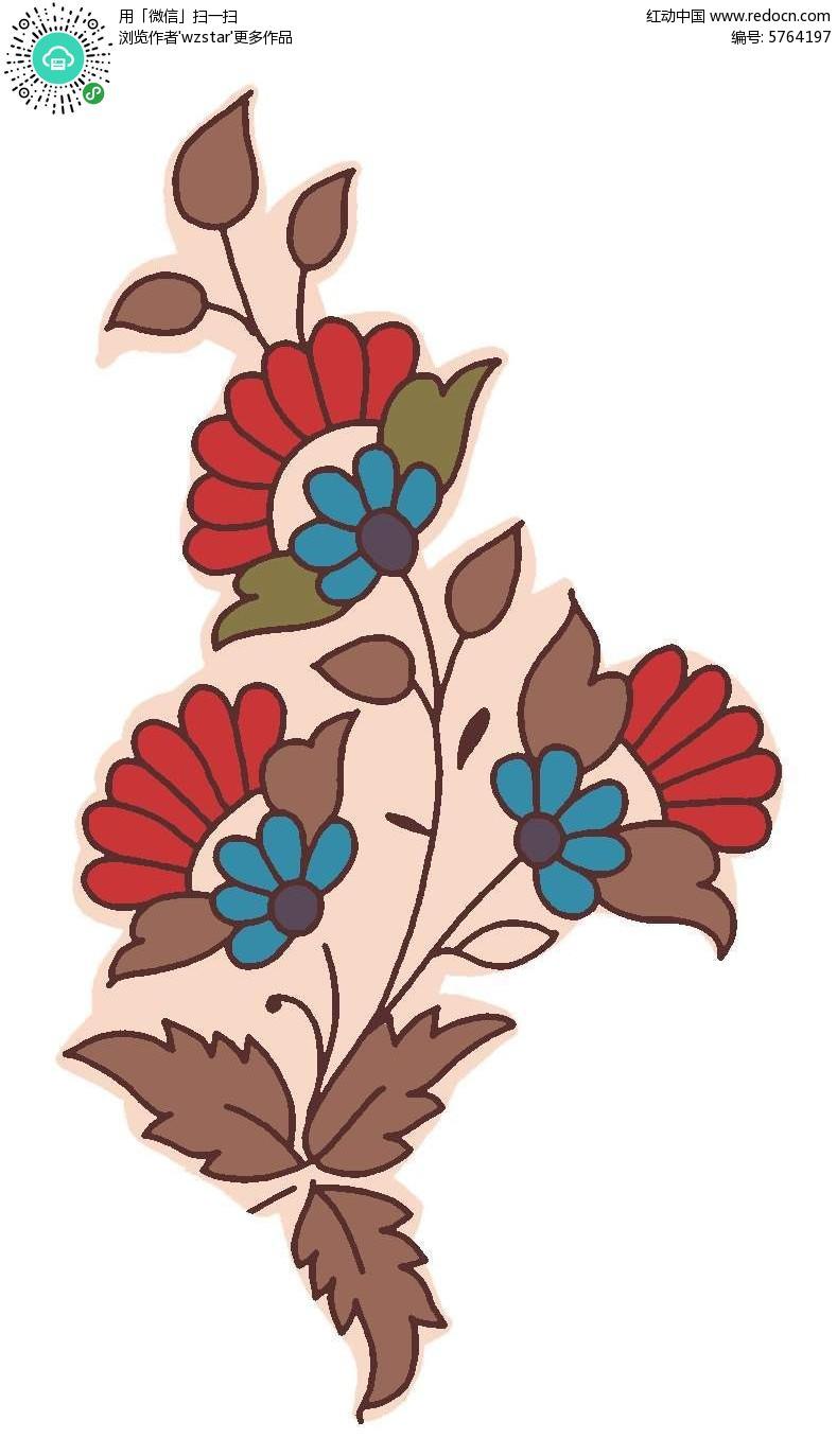 手绘鲜花背景psd素材