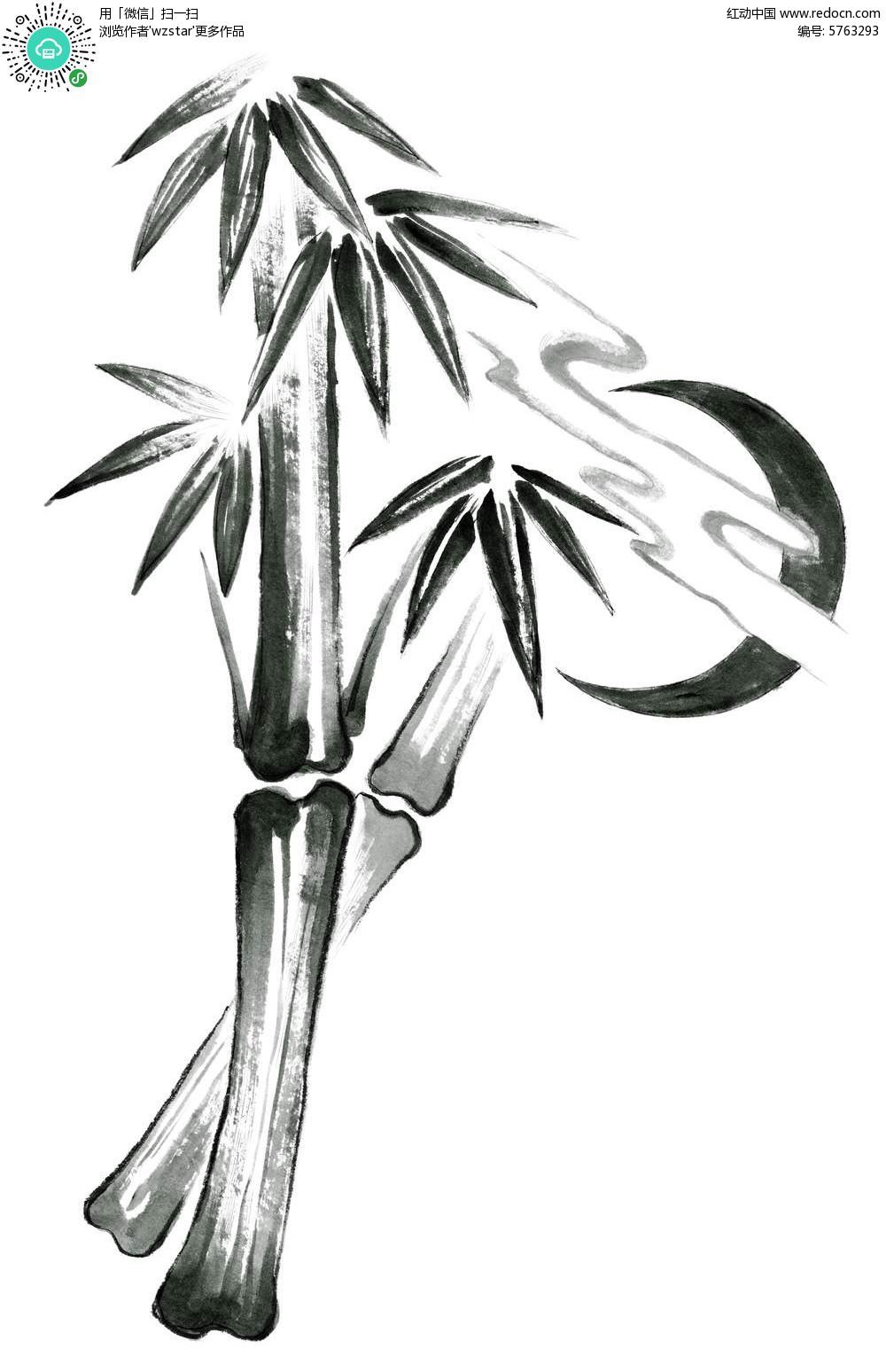 手绘竹子与月亮psd分层素材