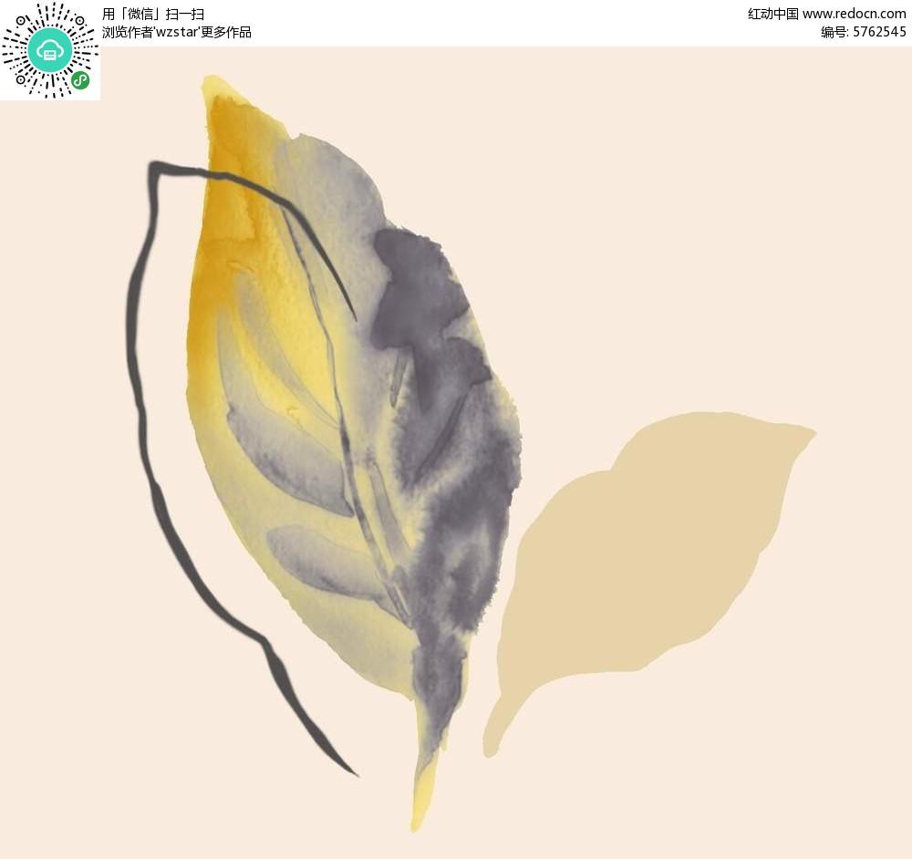 水彩风格黄色叶子素材图片
