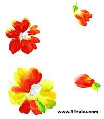 水墨彩色花朵花蕾背景素材